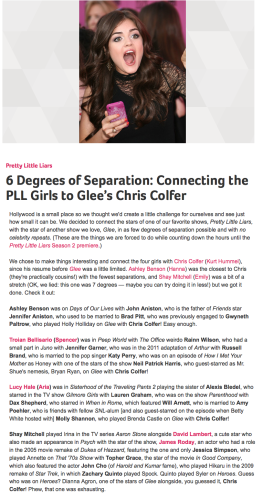 6 Degrees of Separation   Connecting the PLL Girls to Glee's Chris Colfer