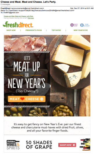 Cheese and Meat. Meat and Cheese. Let's Party. (Email)