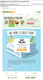 FREE Watermelon | Plus, Celebrate 13 Years with $5 off!