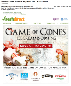 Game of Cones Starts NOW | Up to 25% Off Ice Cream Email