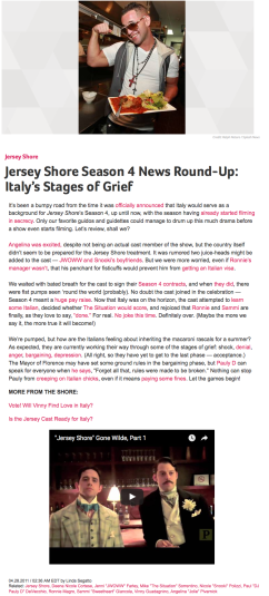 Jersey Shore Season 4 News Round-Up | Italy's Stages of Grief