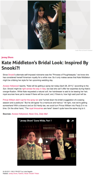 Kate Middleton's Bridal Look Inspired By Snooki?!
