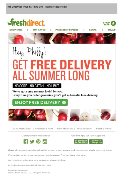 Philly Summer Free Delivery