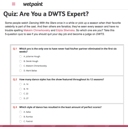 Quiz   Are You a DWTS Expert?