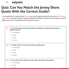 Quiz   Match the Quote with the Jersey Shore Guido