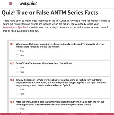 Quiz   True or False ANTM Facts